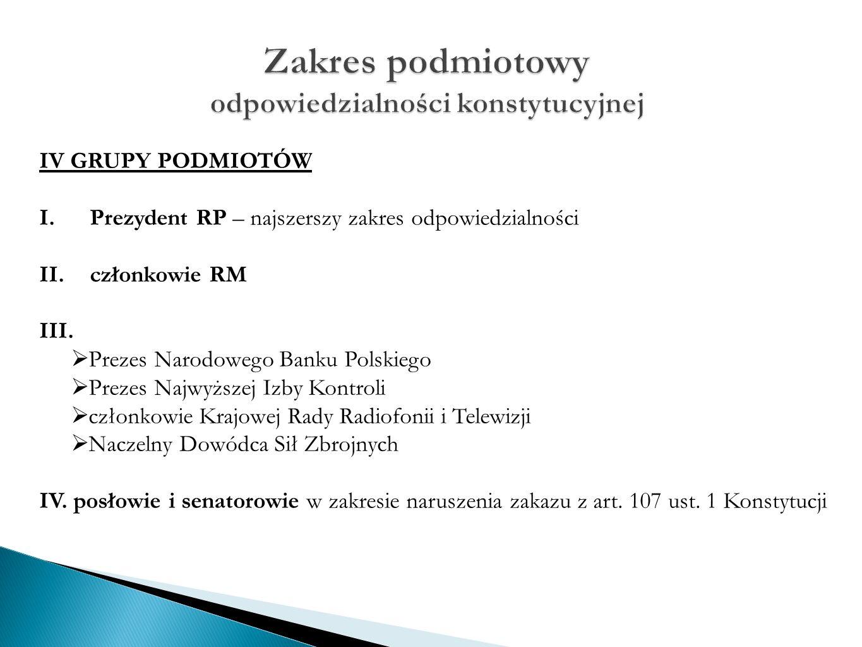 IV GRUPY PODMIOTÓW I. Prezydent RP – najszerszy zakres odpowiedzialności II.