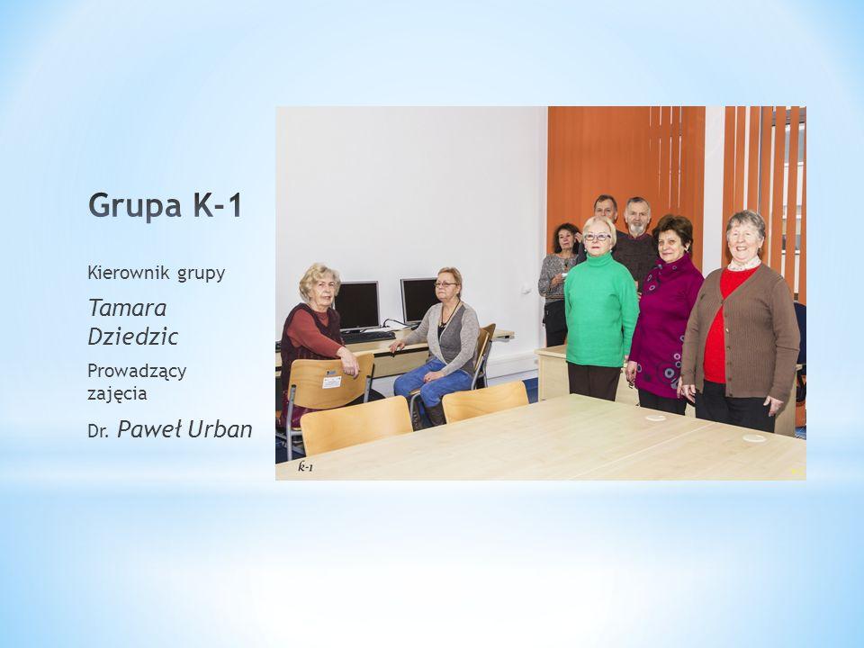 Kierownik grupy Tamara Dziedzic Prowadzący zajęcia Dr. Paweł Urban