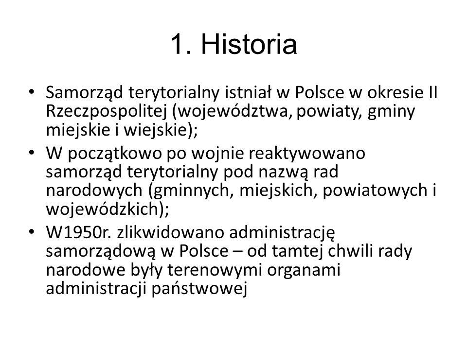 1. Historia Samorząd terytorialny istniał w Polsce w okresie II Rzeczpospolitej (województwa, powiaty, gminy miejskie i wiejskie); W początkowo po woj