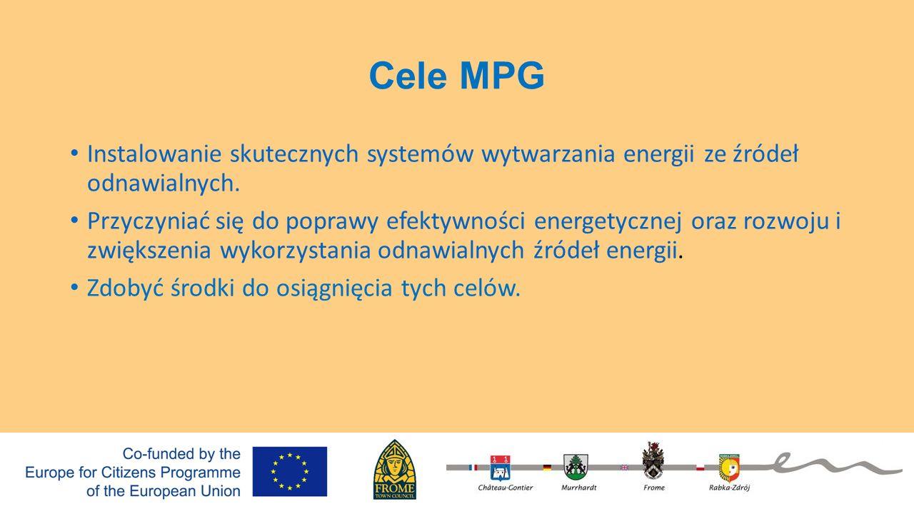Cele MPG Instalowanie skutecznych systemów wytwarzania energii ze źródeł odnawialnych. Przyczyniać się do poprawy efektywności energetycznej oraz rozw