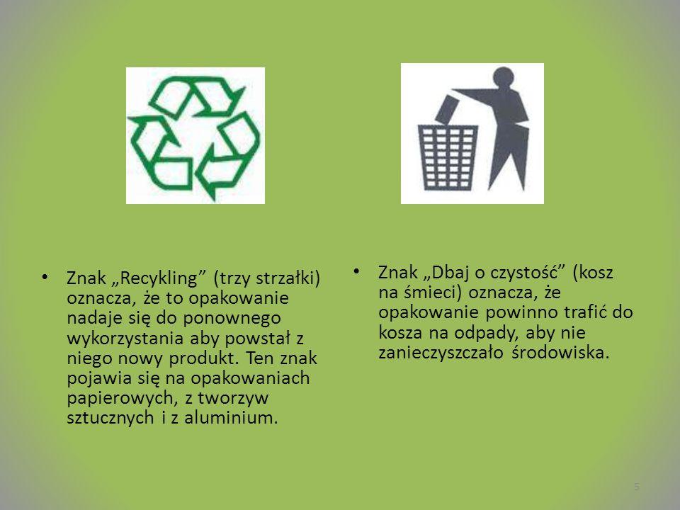 """Znak """"Recykling (trzy strzałki) oznacza, że to opakowanie nadaje się do ponownego wykorzystania aby powstał z niego nowy produkt."""