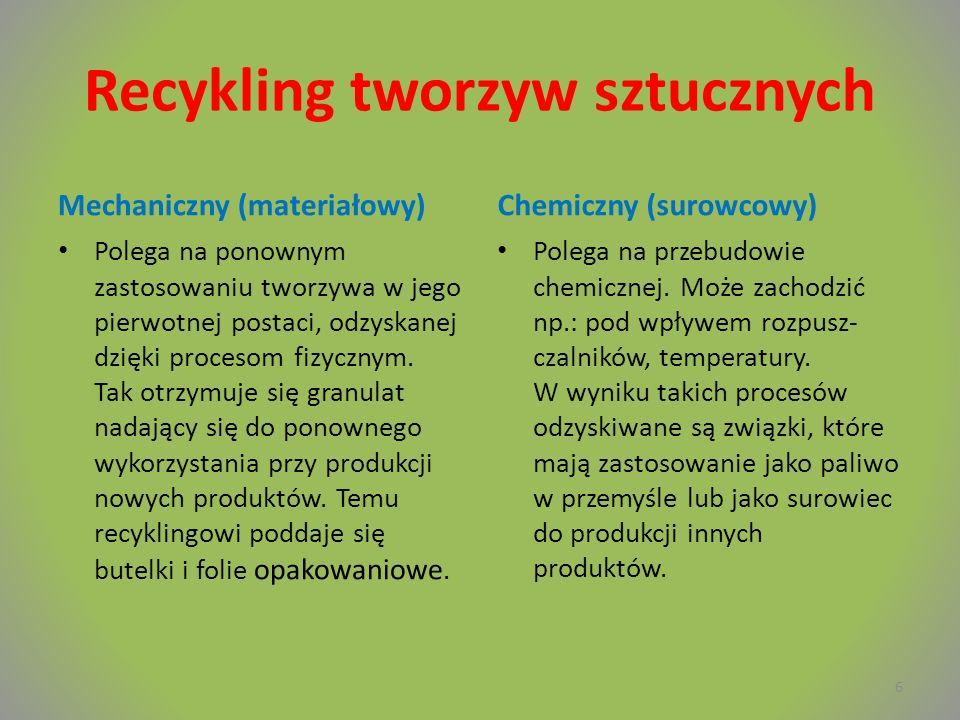 Recykling tworzyw sztucznych Mechaniczny (materiałowy) Polega na ponownym zastosowaniu tworzywa w jego pierwotnej postaci, odzyskanej dzięki procesom fizycznym.