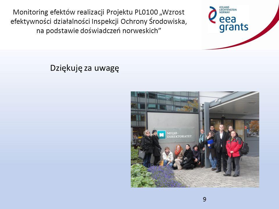 """Monitoring efektów realizacji Projektu PL0100 """"Wzrost efektywności działalności Inspekcji Ochrony Środowiska, na podstawie doświadczeń norweskich Dziękuję za uwagę 9"""