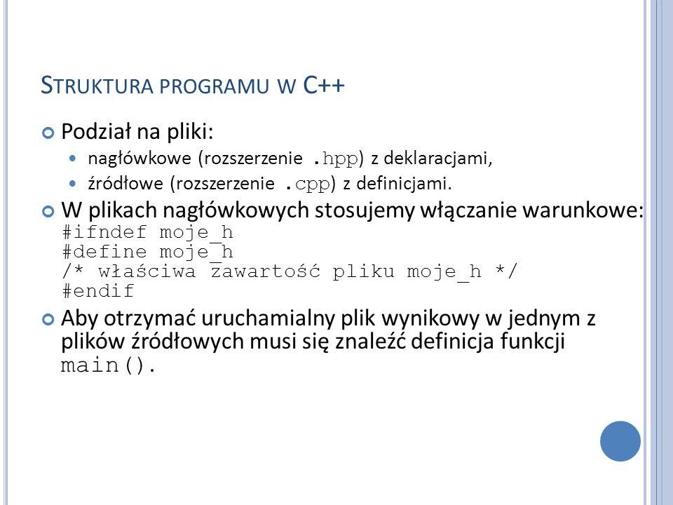 S TRUKTURA PROGRAMU W C++ Podział na pliki: nagłówkowe (rozszerzenie.hpp ) z deklaracjami, źródłowe (rozszerzenie.cpp ) z definicjami. W plikach nagłó