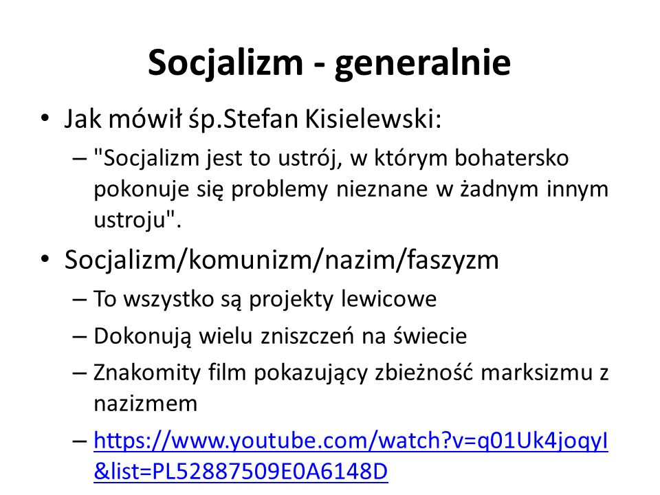 Socjalizm - generalnie Koncepcja zerowego wzrostu – To także koncepcja lewicowa – socjalistyczna – Obecnie bardzo modna w śród elit Jednakże nie mówią o tym otwarcie ale to robią Wikipedia: – Koszty wzrostu gospodarczego są wyższe niż płynące z niego korzyści.