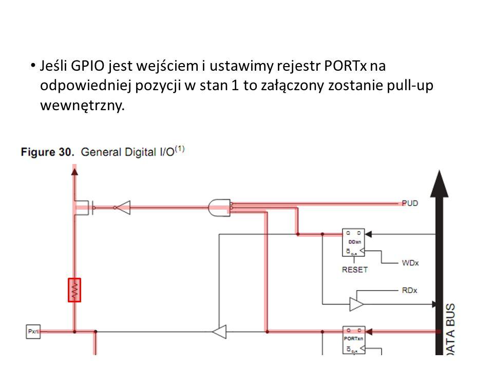 Jeśli GPIO jest wejściem i ustawimy rejestr PORTx na odpowiedniej pozycji w stan 1 to załączony zostanie pull-up wewnętrzny.