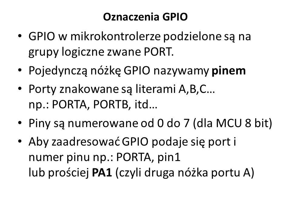 Dostęp bitowy PORTA=0b00001000;//ustawia cały port PORTA=(1<<3);//ustawia cały port PORTA=PORTA|(1<<3);//ustawia jeden pin PORTA|=(1<<3);//prościej PORTA&=(1<<3); PORTA&=~(1<<3);dobrze//kasuje pin PORTA^=0xFF;//neguje cały port PORTA^=0b00001111;//neguje 4 piny źle//nie kasuje pinu