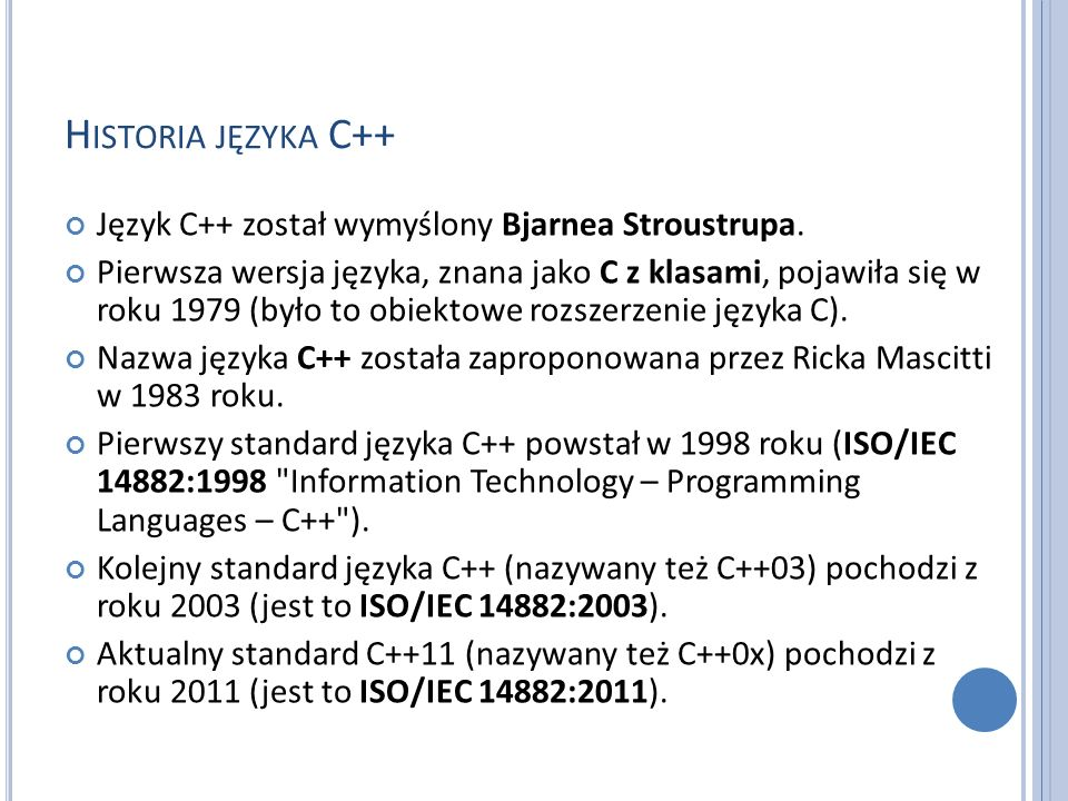 L ITERATURA B.Stroustrup: Język C++.Kompendium wiedzy.