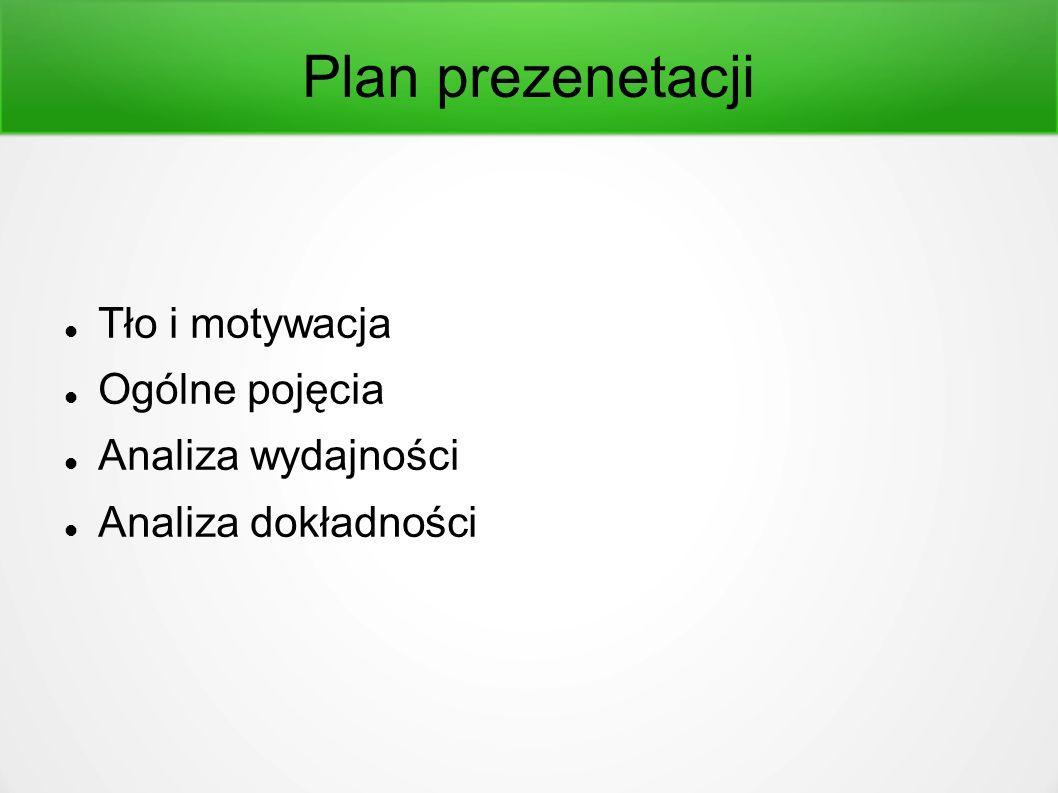 Plan prezenetacji Tło i motywacja Ogólne pojęcia Analiza wydajności Analiza dokładności