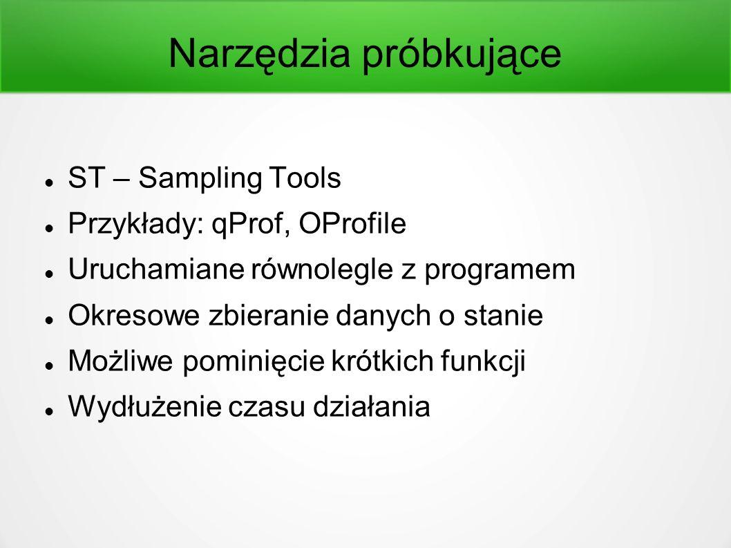 Narzędzia próbkujące ST – Sampling Tools Przykłady: qProf, OProfile Uruchamiane równolegle z programem Okresowe zbieranie danych o stanie Możliwe pominięcie krótkich funkcji Wydłużenie czasu działania