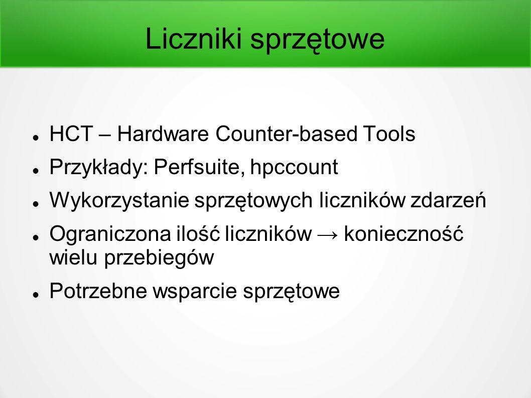 Liczniki sprzętowe HCT – Hardware Counter-based Tools Przykłady: Perfsuite, hpccount Wykorzystanie sprzętowych liczników zdarzeń Ograniczona ilość liczników → konieczność wielu przebiegów Potrzebne wsparcie sprzętowe