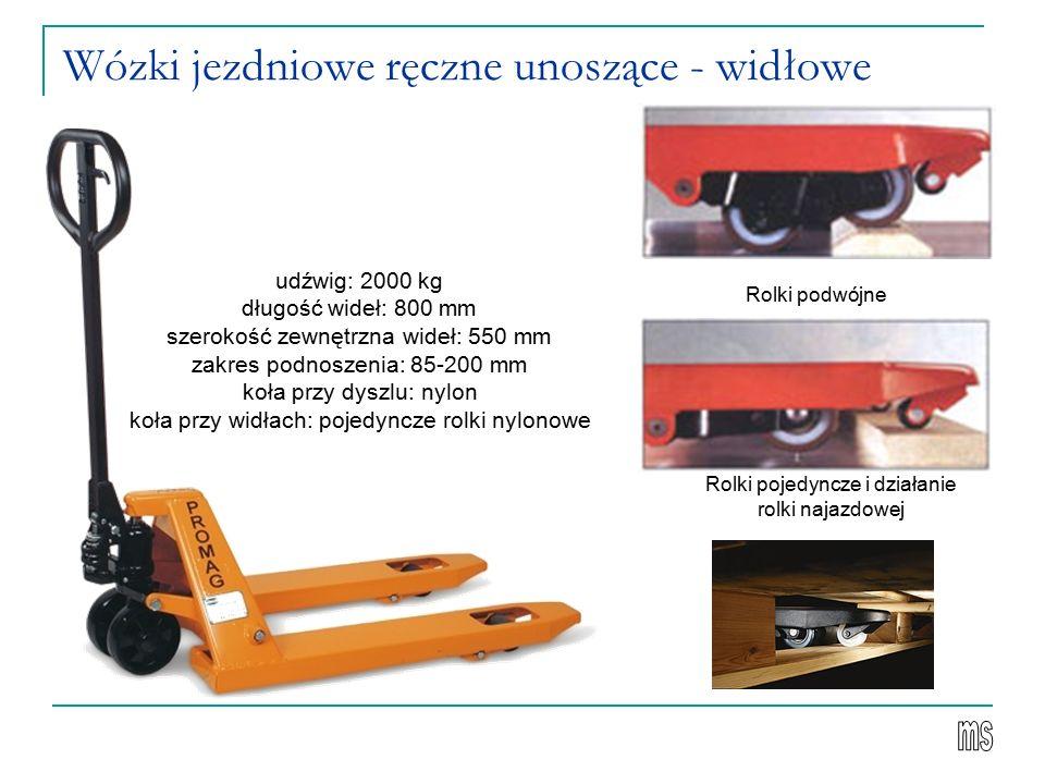 Wózki jezdniowe ręczne unoszące - widłowe Rolki podwójne Rolki pojedyncze i działanie rolki najazdowej udźwig: 2000 kg długość wideł: 800 mm szerokość