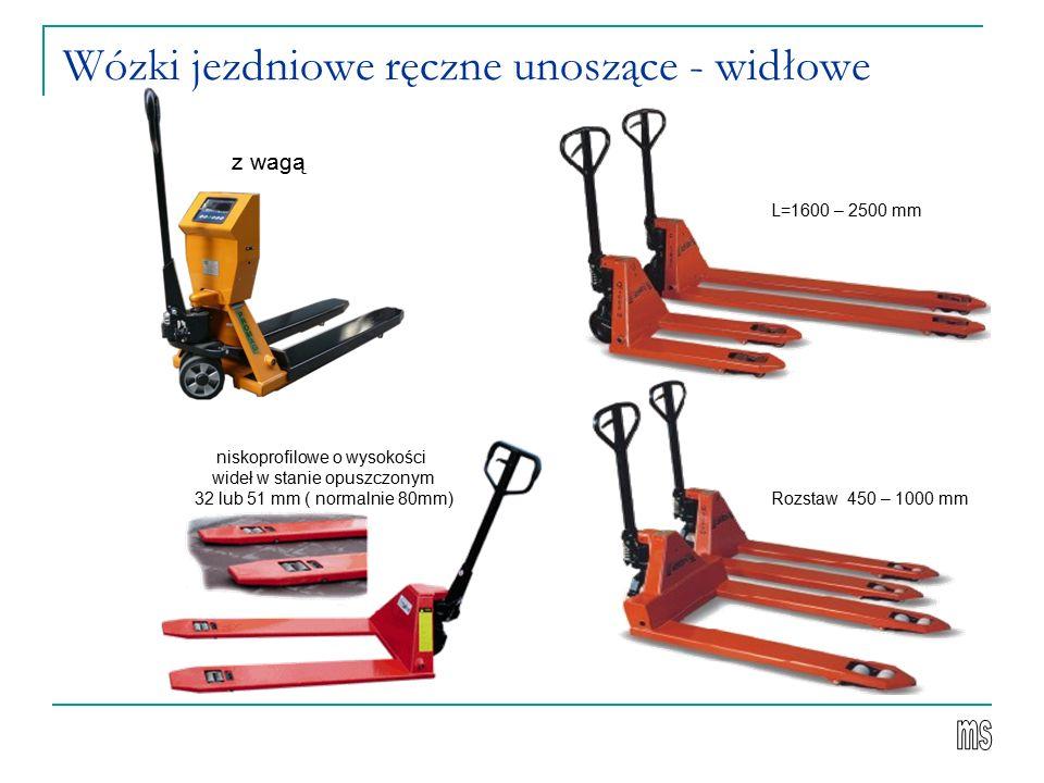 Wózki jezdniowe ręczne unoszące - widłowe z wagą L=1600 – 2500 mm Rozstaw 450 – 1000 mm niskoprofilowe o wysokości wideł w stanie opuszczonym 32 lub 51 mm ( normalnie 80mm)