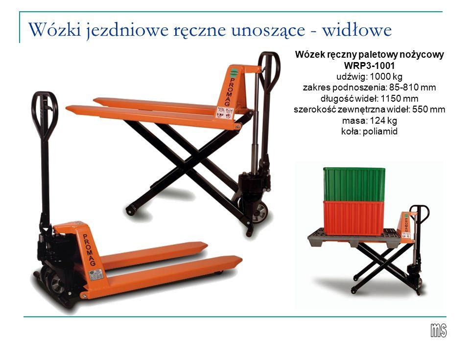 Wózki jezdniowe ręczne unoszące - widłowe Wózek ręczny paletowy nożycowy WRP3-1001 udźwig: 1000 kg zakres podnoszenia: 85-810 mm długość wideł: 1150 m