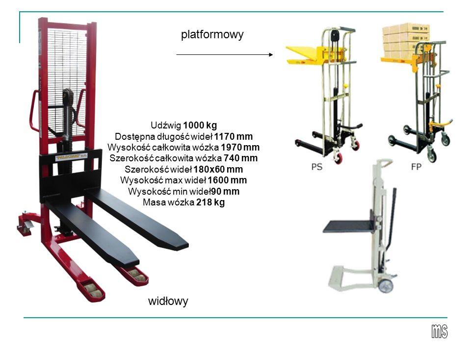 Udźwig 1000 kg Dostępna długość wideł 1170 mm Wysokość całkowita wózka 1970 mm Szerokość całkowita wózka 740 mm Szerokość wideł 180x60 mm Wysokość max