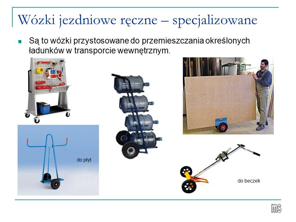 Wózki jezdniowe ręczne – specjalizowane Są to wózki przystosowane do przemieszczania określonych ładunków w transporcie wewnętrznym.