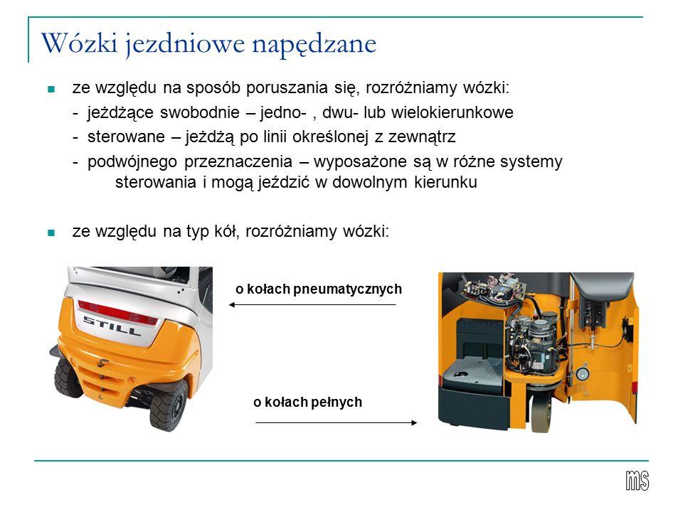 Wózki jezdniowe napędzane ze względu na sposób poruszania się, rozróżniamy wózki: - jeżdżące swobodnie – jedno-, dwu- lub wielokierunkowe - sterowane – jeżdżą po linii określonej z zewnątrz - podwójnego przeznaczenia – wyposażone są w różne systemy sterowania i mogą jeździć w dowolnym kierunku ze względu na typ kół, rozróżniamy wózki: o kołach pneumatycznych o kołach pełnych