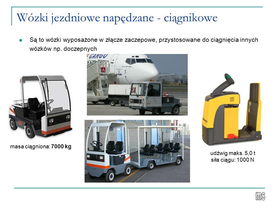 Wózki jezdniowe napędzane - ciągnikowe Są to wózki wyposażone w złącze zaczepowe, przystosowane do ciągnięcia innych wózków np.