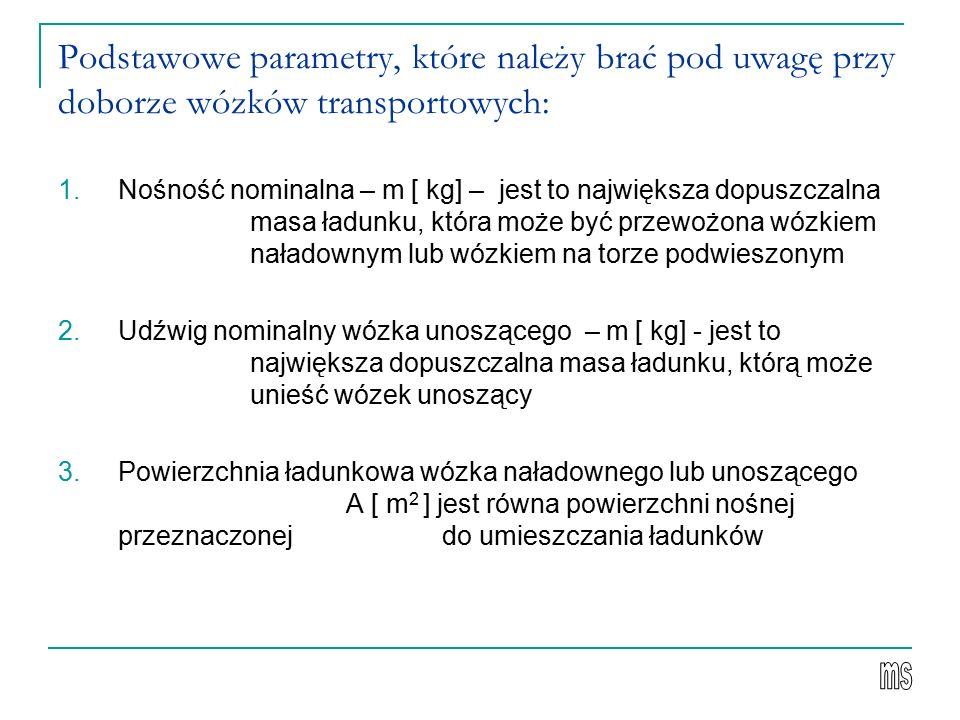 Podstawowe parametry, które należy brać pod uwagę przy doborze wózków transportowych: 1.Nośność nominalna – m [ kg] – jest to największa dopuszczalna masa ładunku, która może być przewożona wózkiem naładownym lub wózkiem na torze podwieszonym 2.Udźwig nominalny wózka unoszącego – m [ kg] - jest to największa dopuszczalna masa ładunku, którą może unieść wózek unoszący 3.Powierzchnia ładunkowa wózka naładownego lub unoszącego A [ m 2 ] jest równa powierzchni nośnej przeznaczonej do umieszczania ładunków