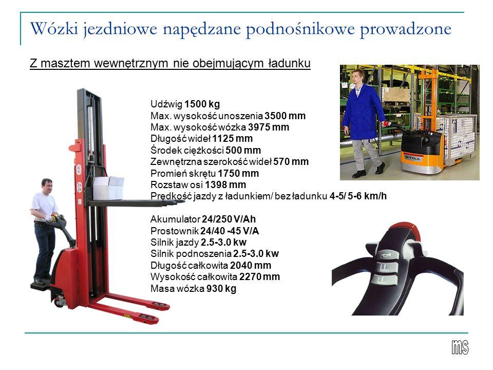 Wózki jezdniowe napędzane podnośnikowe prowadzone Z masztem wewnętrznym nie obejmującym ładunku Udźwig 1500 kg Max. wysokość unoszenia 3500 mm Max. wy