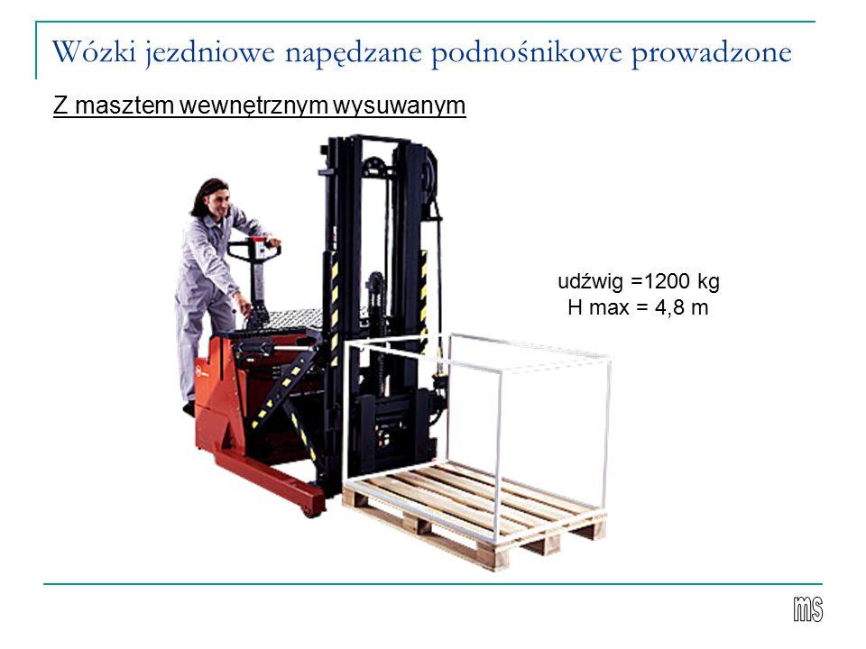 Wózki jezdniowe napędzane podnośnikowe prowadzone Z masztem wewnętrznym wysuwanym udźwig =1200 kg H max = 4,8 m