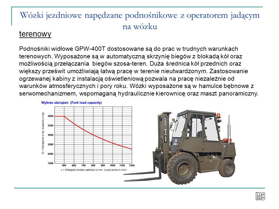 Wózki jezdniowe napędzane podnośnikowe z operatorem jadącym na wózku terenowy Podnośniki widłowe GPW-400T dostosowane są do prac w trudnych warunkach terenowych.