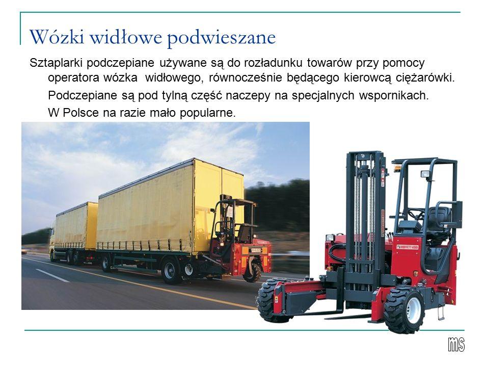 Wózki widłowe podwieszane Sztaplarki podczepiane używane są do rozładunku towarów przy pomocy operatora wózka widłowego, równocześnie będącego kierowcą ciężarówki.