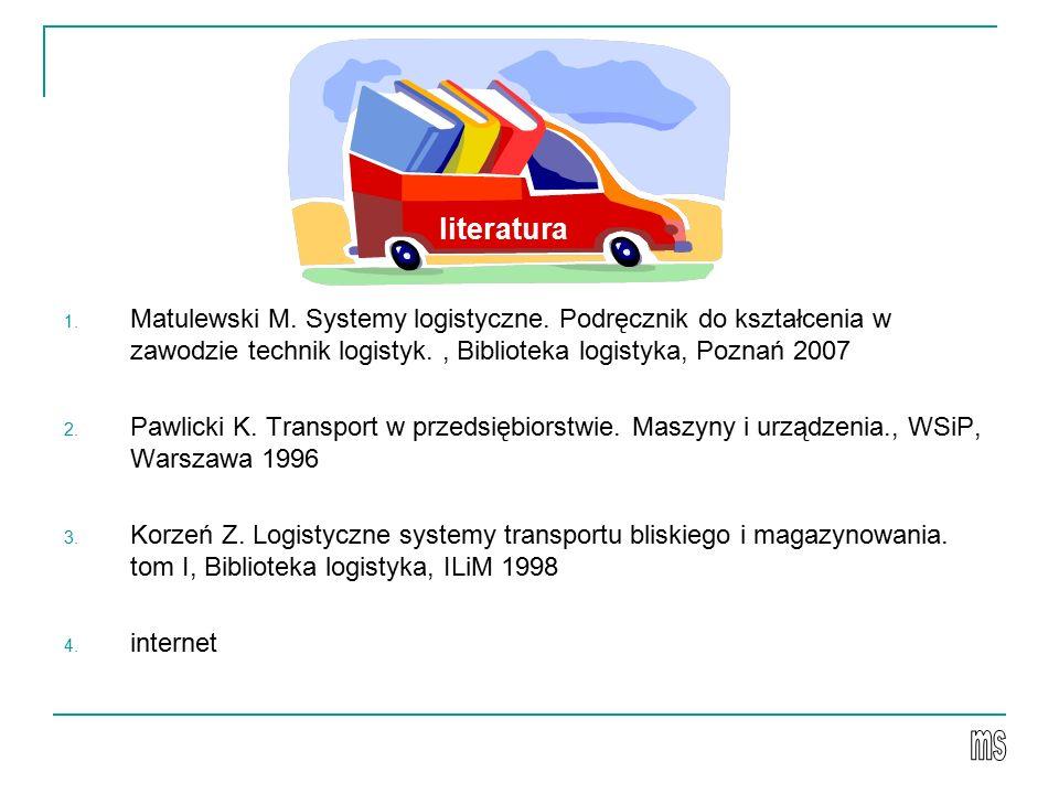 1. Matulewski M. Systemy logistyczne. Podręcznik do kształcenia w zawodzie technik logistyk., Biblioteka logistyka, Poznań 2007 2. Pawlicki K. Transpo
