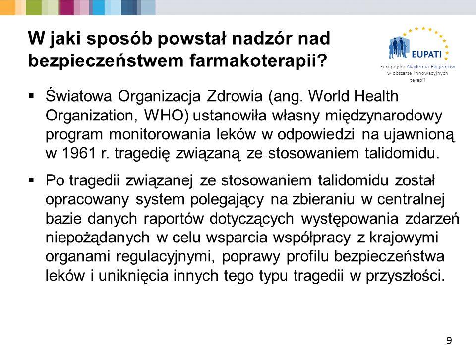 Europejska Akademia Pacjentów w obszarze innowacyjnych terapii  Światowa Organizacja Zdrowia (ang.