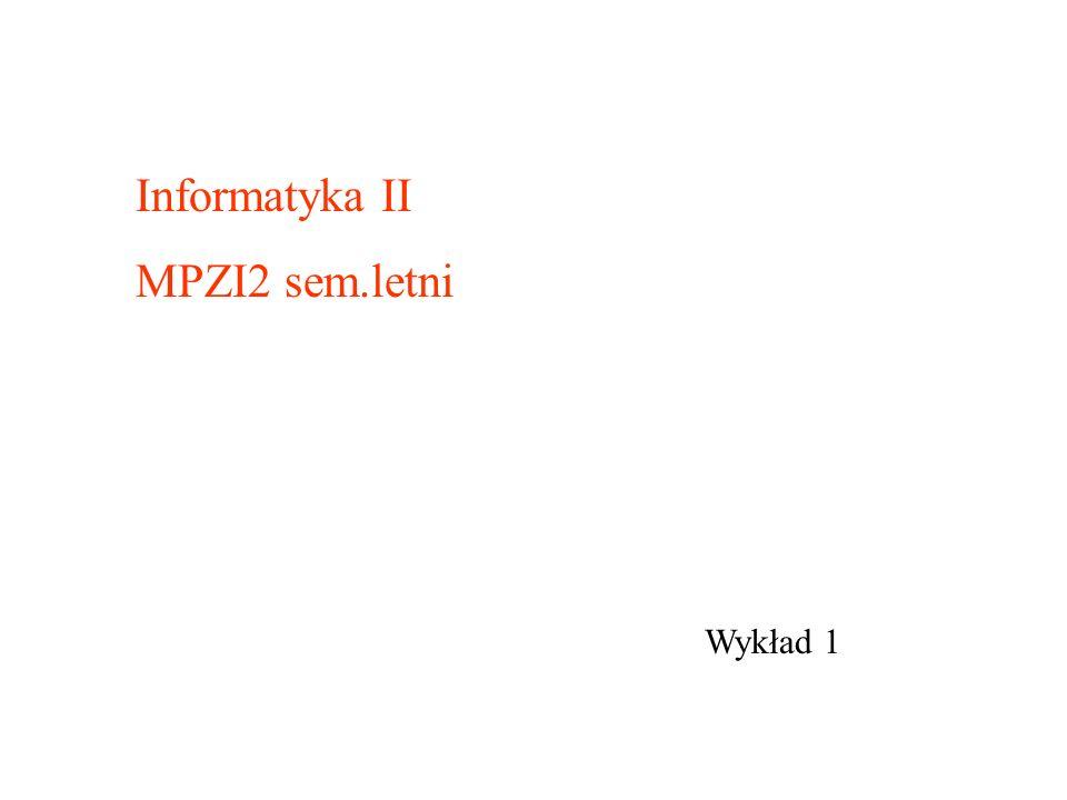 Wykład 1 Informatyka II MPZI2 sem.letni