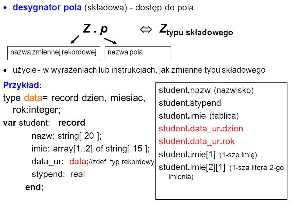  desygnator pola (składowa) - dostęp do pola Z.