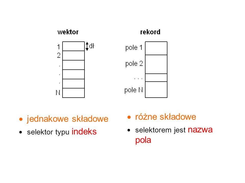  jednakowe składowe  selektor typu indeks  różne składowe  selektorem jest nazwa pola