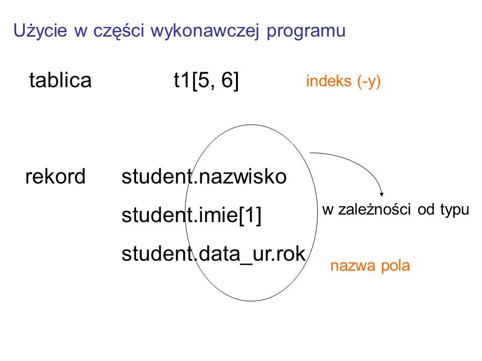 Użycie w części wykonawczej programu tablicat1[5, 6] rekord student.nazwisko student.imie[1] student.data_ur.rok w zależności od typu indeks (-y) nazwa pola