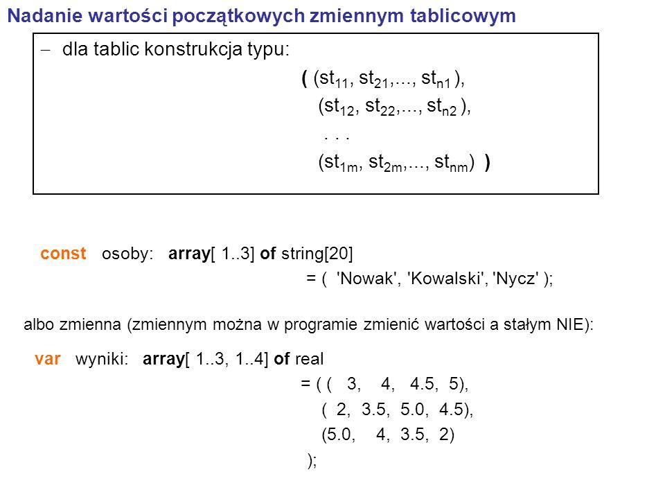 const osoby: array[ 1..3] of string[20] = ( Nowak , Kowalski , Nycz ); Nadanie wartości początkowych zmiennym tablicowym  dla tablic konstrukcja typu: ( (st 11, st 21,..., st n1 ), (st 12, st 22,..., st n2 ),...