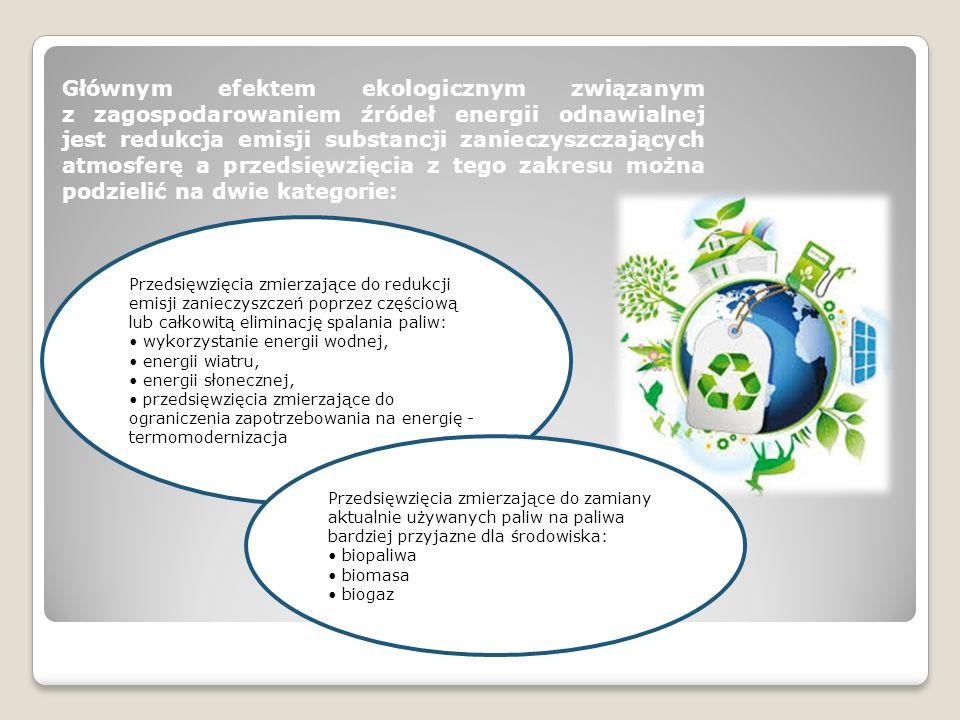 Głównym efektem ekologicznym związanym z zagospodarowaniem źródeł energii odnawialnej jest redukcja emisji substancji zanieczyszczających atmosferę a przedsięwzięcia z tego zakresu można podzielić na dwie kategorie: Przedsięwzięcia zmierzające do redukcji emisji zanieczyszczeń poprzez częściową lub całkowitą eliminację spalania paliw: wykorzystanie energii wodnej, energii wiatru, energii słonecznej, przedsięwzięcia zmierzające do ograniczenia zapotrzebowania na energię - termomodernizacja Przedsięwzięcia zmierzające do zamiany aktualnie używanych paliw na paliwa bardziej przyjazne dla środowiska: biopaliwa biomasa biogaz
