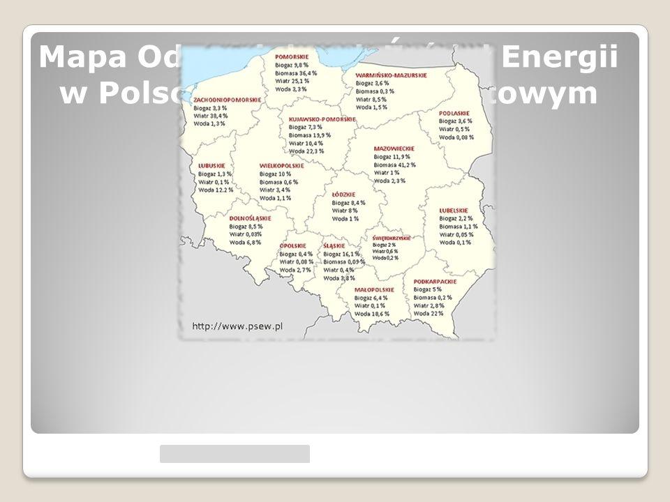 Mapa Odnawialnych Źródeł Energii w Polsce w ujęciu procentowym