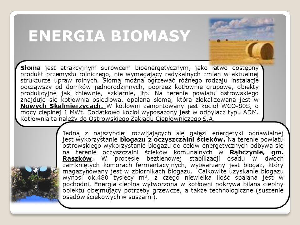 ENERGIA BIOMASY Słoma jest atrakcyjnym surowcem bioenergetycznym, jako łatwo dostępny produkt przemysłu rolniczego, nie wymagający radykalnych zmian w