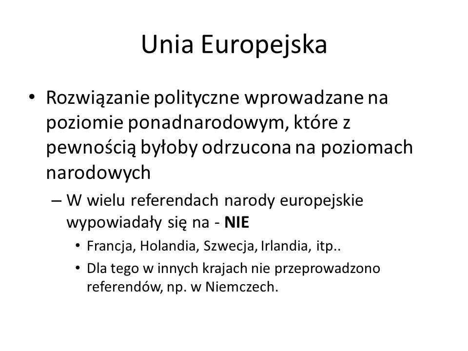 Unia Europejska Rozwiązanie polityczne wprowadzane na poziomie ponadnarodowym, które z pewnością byłoby odrzucona na poziomach narodowych – W wielu referendach narody europejskie wypowiadały się na - NIE Francja, Holandia, Szwecja, Irlandia, itp..