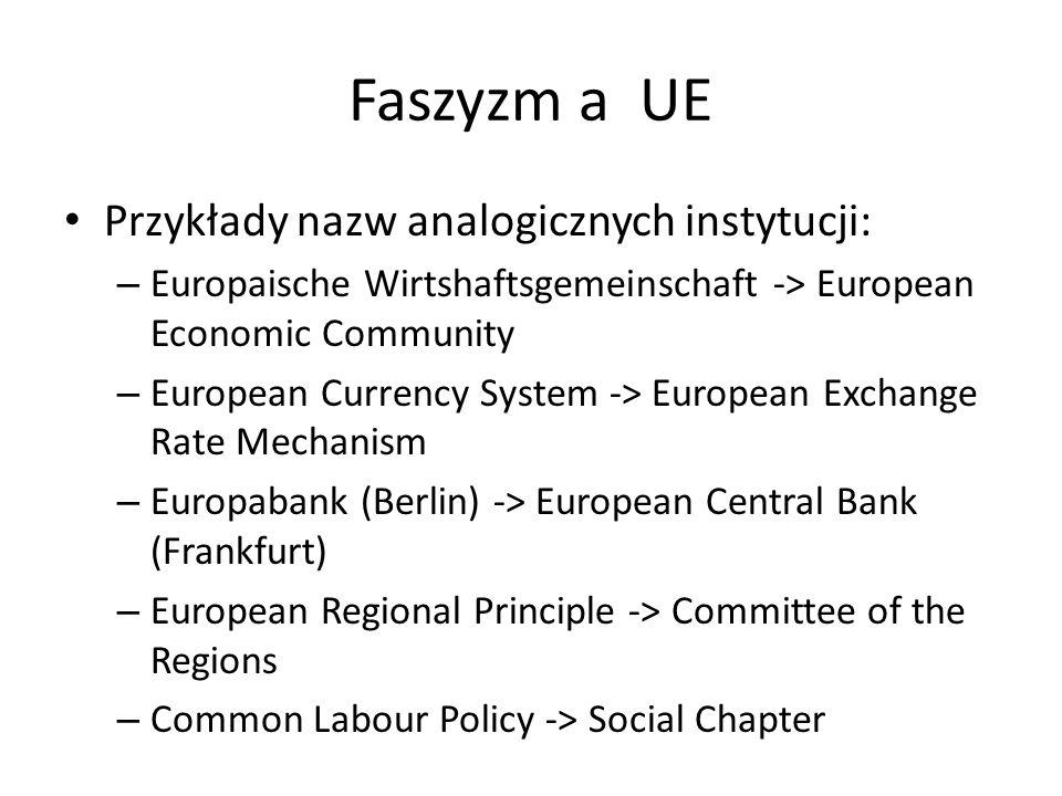 Faszyzm a UE Przykłady nazw analogicznych instytucji: – Europaische Wirtshaftsgemeinschaft -> European Economic Community – European Currency System -