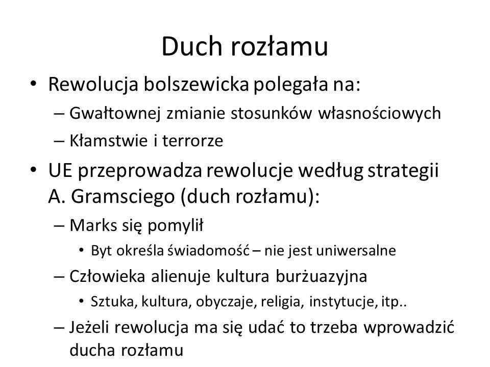 Duch rozłamu Rewolucja bolszewicka polegała na: – Gwałtownej zmianie stosunków własnościowych – Kłamstwie i terrorze UE przeprowadza rewolucje według strategii A.