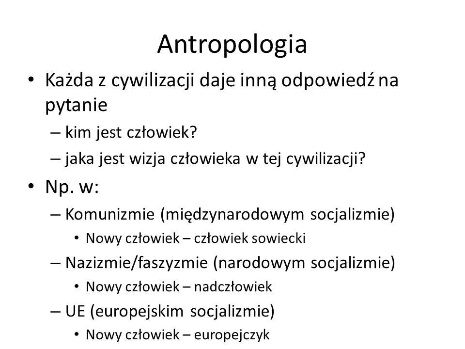 Antropologia Każda z cywilizacji daje inną odpowiedź na pytanie – kim jest człowiek.