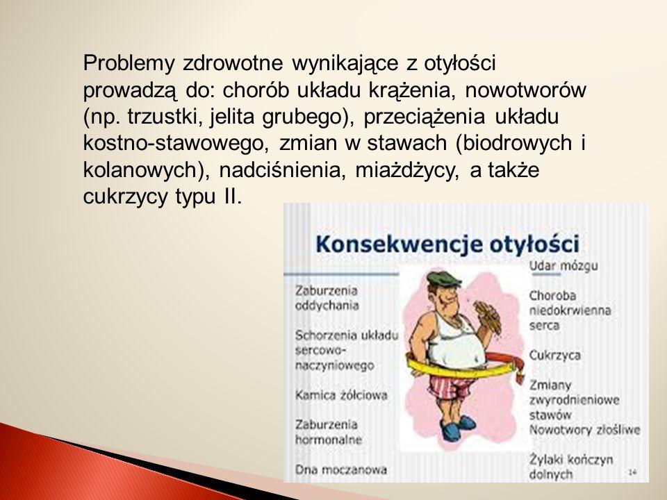 Problemy zdrowotne wynikające z otyłości prowadzą do: chorób układu krążenia, nowotworów (np. trzustki, jelita grubego), przeciążenia układu kostno-st