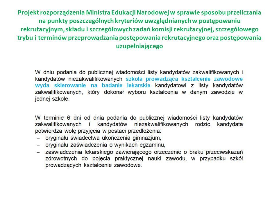 Projekt rozporządzenia Ministra Edukacji Narodowej w sprawie sposobu przeliczania na punkty poszczególnych kryteriów uwzględnianych w postępowaniu rek