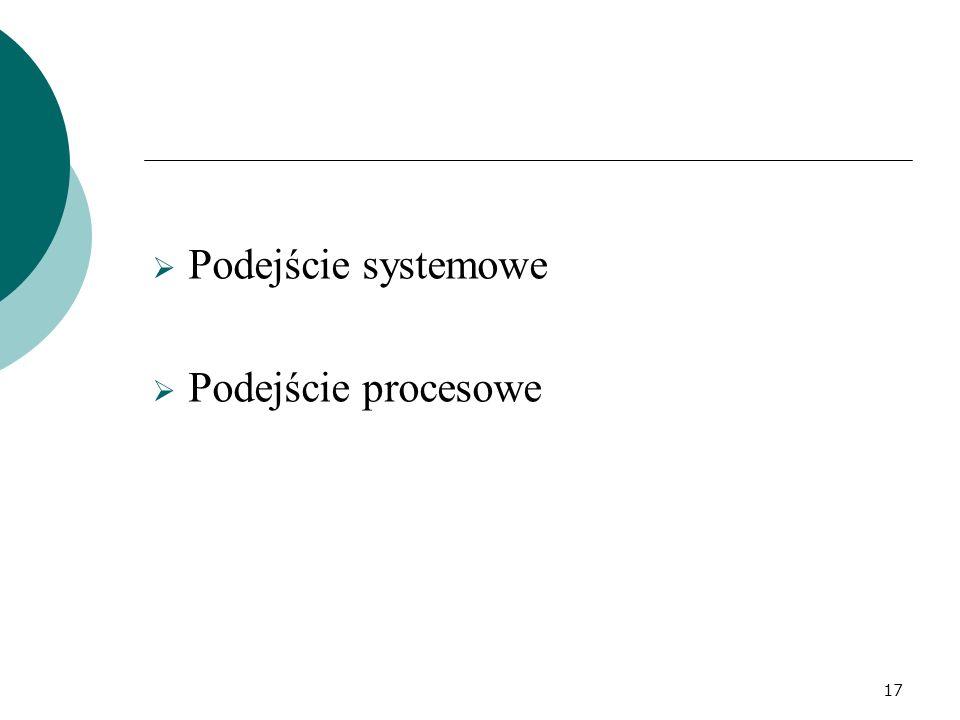  Podejście systemowe  Podejście procesowe 17