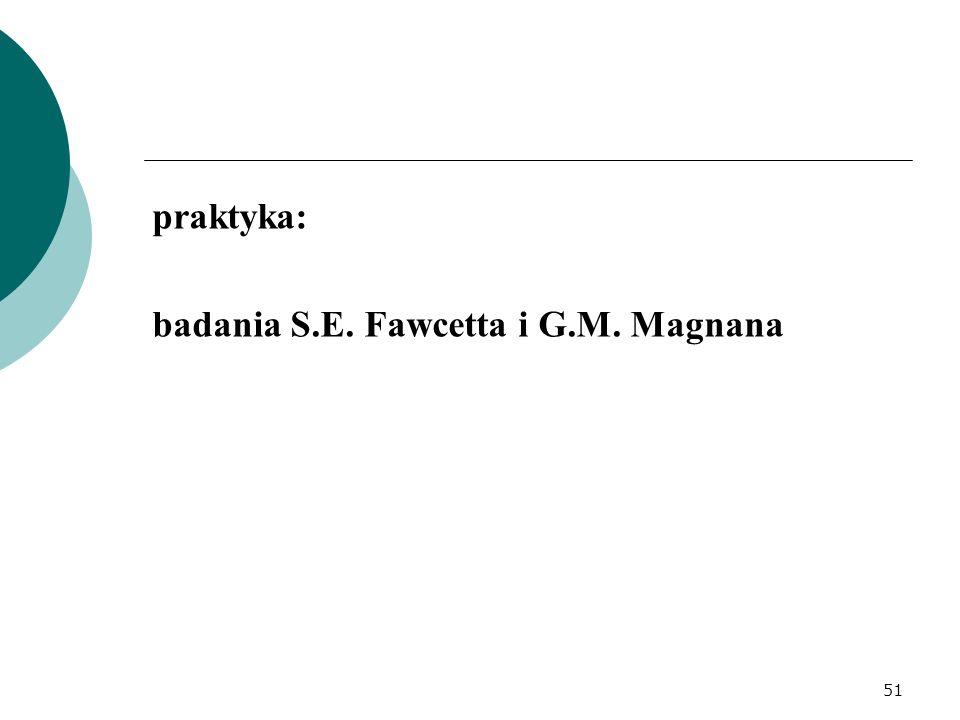 praktyka: badania S.E. Fawcetta i G.M. Magnana 51