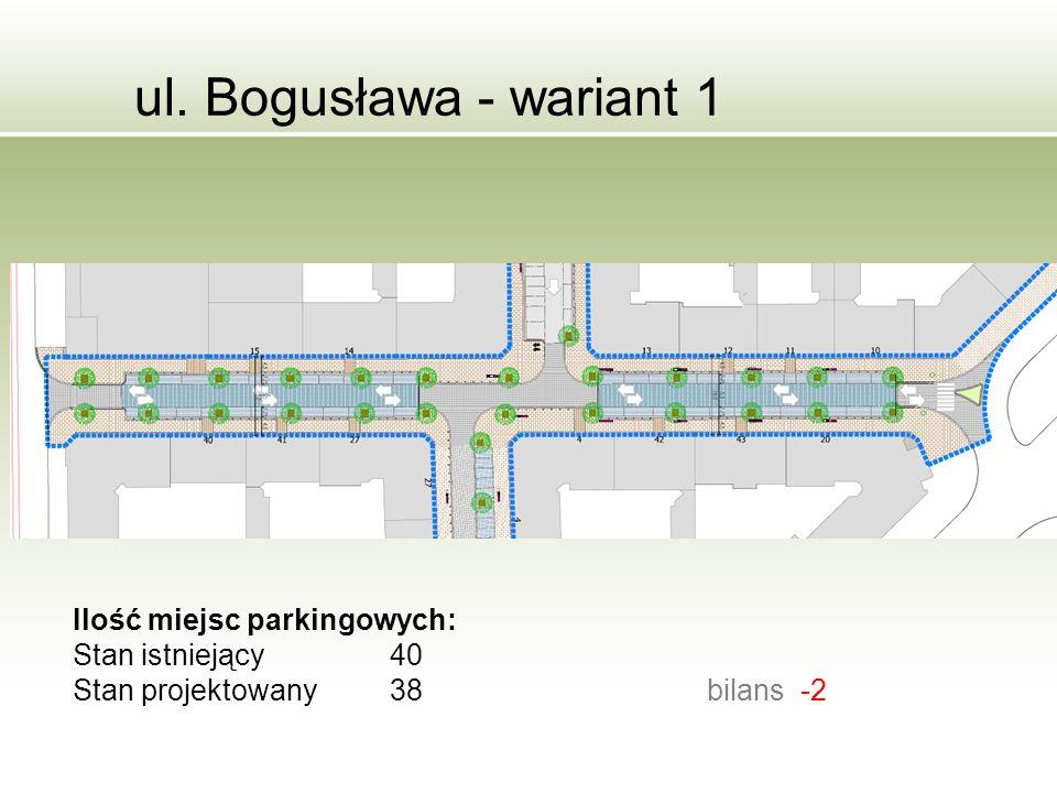 ul. Bogusława - wariant 1 Ilość miejsc parkingowych: Stan istniejący40 Stan projektowany38bilans -2