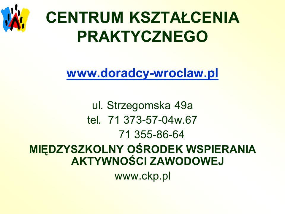 CENTRUM KSZTAŁCENIA PRAKTYCZNEGO www.doradcy-wroclaw.pl ul. Strzegomska 49a tel. 71 373-57-04w.67 71 355-86-64 MIĘDZYSZKOLNY OŚRODEK WSPIERANIA AKTYWN