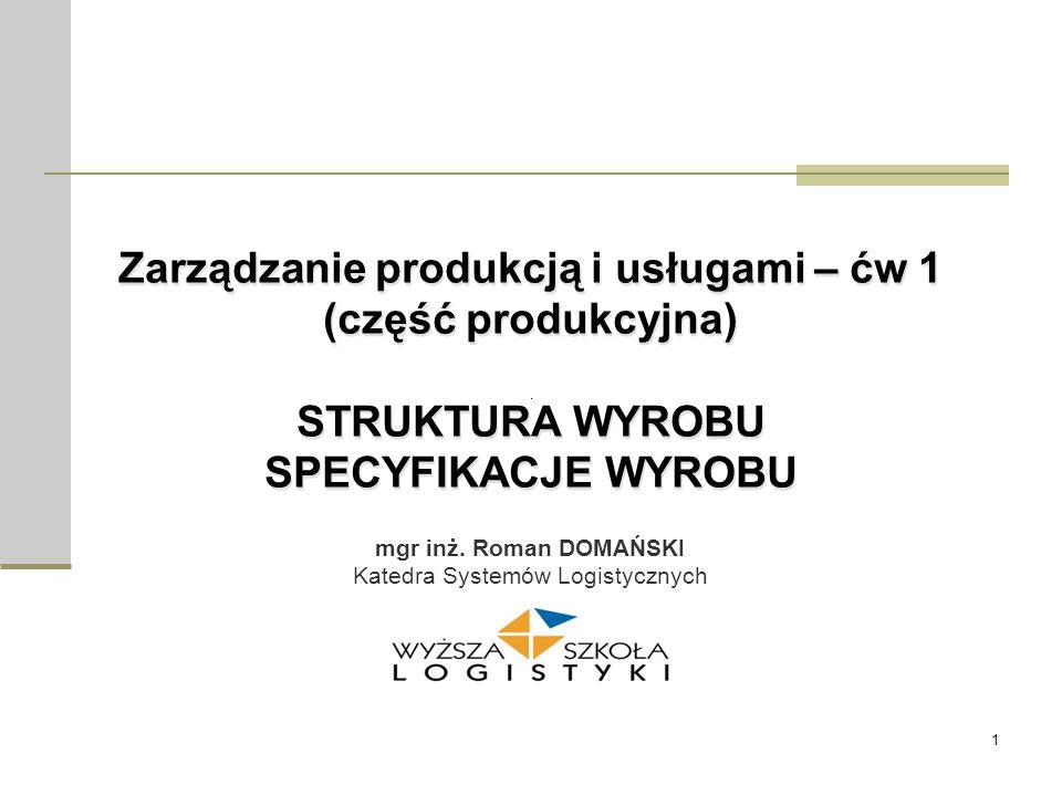1 Zarządzanie produkcją i usługami – ćw 1 (część produkcyjna) STRUKTURA WYROBU SPECYFIKACJE WYROBU Zarządzanie produkcją i usługami – ćw 1 (część prod