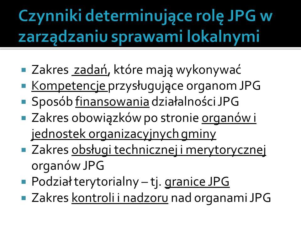  Zakres zadań, które mają wykonywać  Kompetencje przysługujące organom JPG  Sposób finansowania działalności JPG  Zakres obowiązków po stronie organów i jednostek organizacyjnych gminy  Zakres obsługi technicznej i merytorycznej organów JPG  Podział terytorialny – tj.