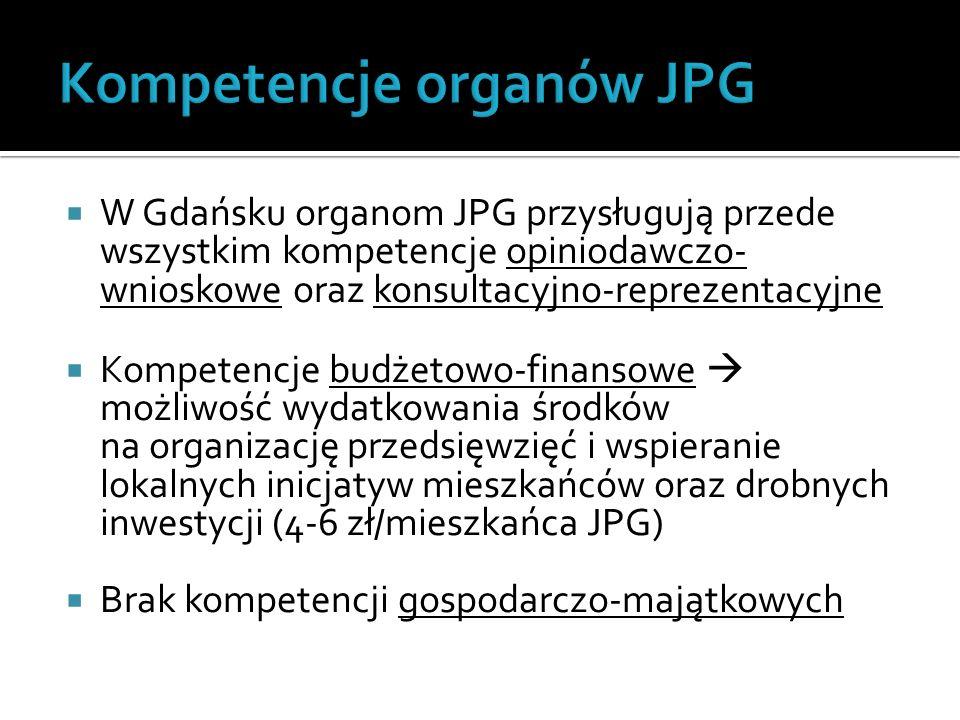  W Gdańsku organom JPG przysługują przede wszystkim kompetencje opiniodawczo- wnioskowe oraz konsultacyjno-reprezentacyjne  Kompetencje budżetowo-finansowe  możliwość wydatkowania środków na organizację przedsięwzięć i wspieranie lokalnych inicjatyw mieszkańców oraz drobnych inwestycji (4-6 zł/mieszkańca JPG)  Brak kompetencji gospodarczo-majątkowych